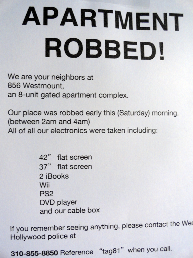 APARTMENT WAS ROBBED IN THE HEART OF WEHO