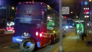 BUSTED NEWT BUS ON SUNSET BLVD