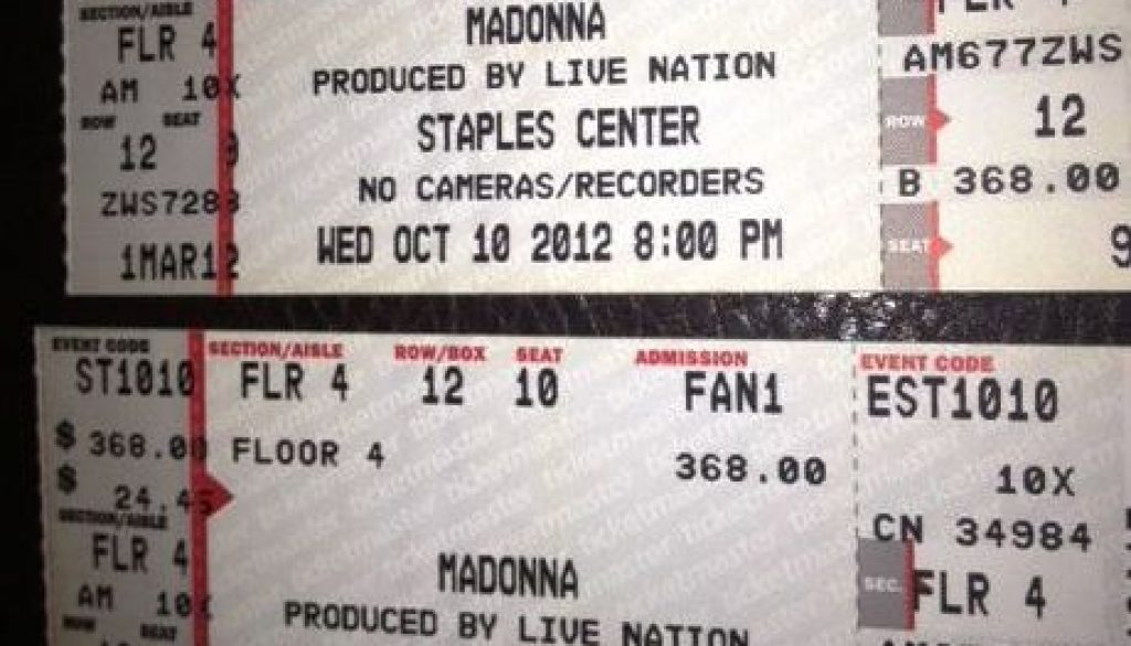 UNJUSTIFIABLE LOVE – I GOT MADONNA MDNA TICKETS! FLOOR SEATS!!!
