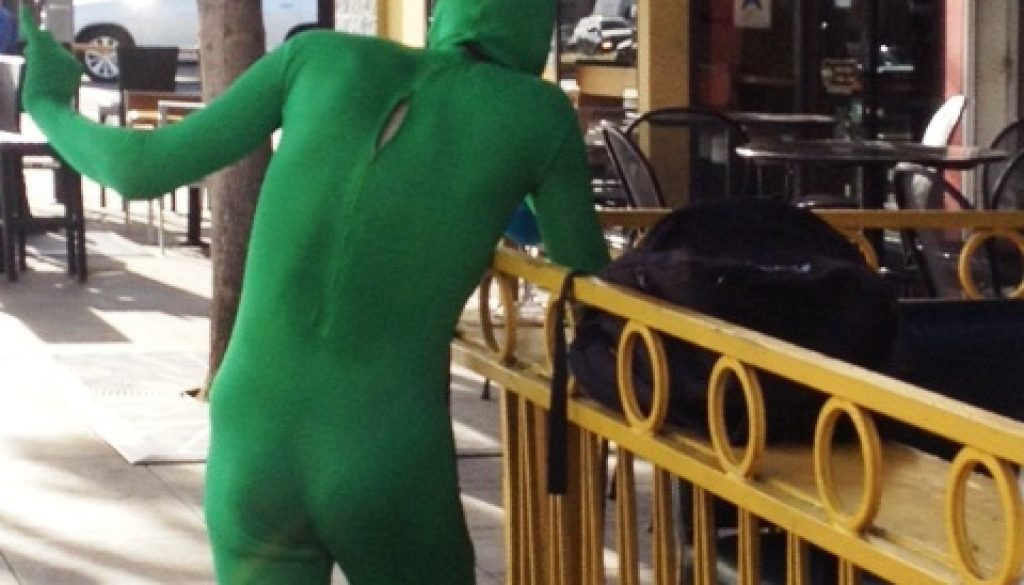 GUY GOES GREEN IN WEST HOLLYWOOD – A WTF MOMENT